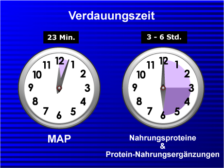 23 minute digestion time for MAP versus 3 to 6 hours for dietary proteins